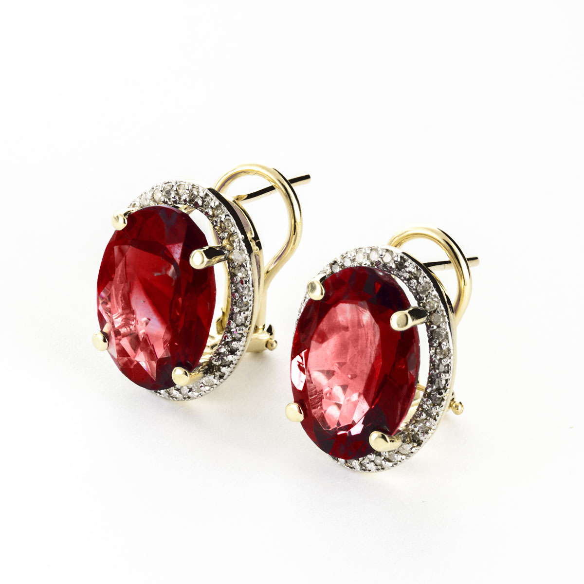 Garnet French Clip Halo Earrings 12 46 Ctw In 9ct Gold