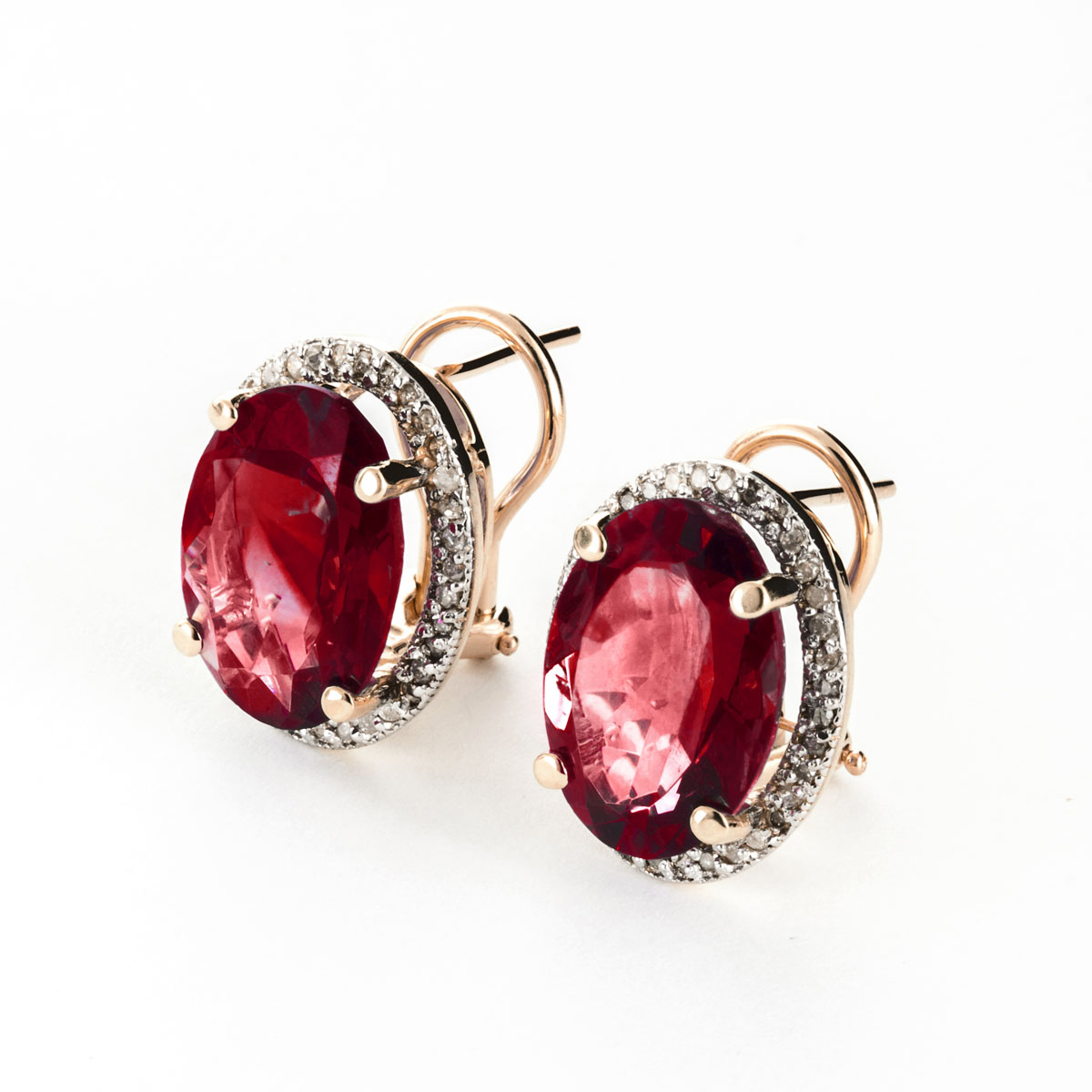 Garnet French Clip Halo Earrings 12.46 ctw in 9ct Rose Gold