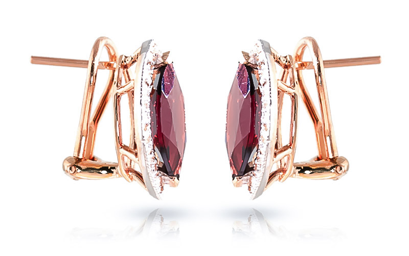 Garnet French Clip Halo Earrings 4.3 ctw in 9ct Rose Gold
