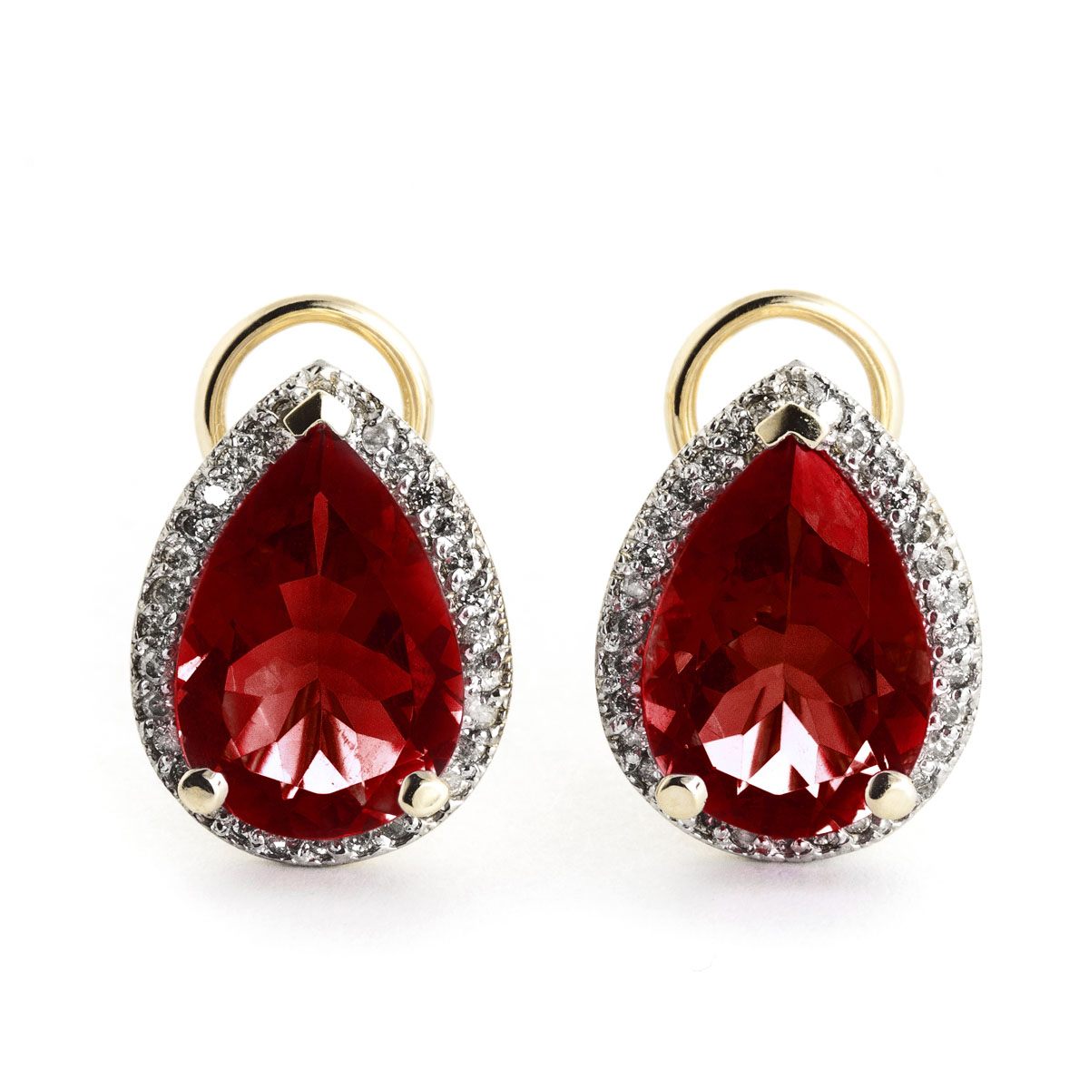 Garnet French Clip Halo Earrings 8 12 Ctw In 9ct Gold