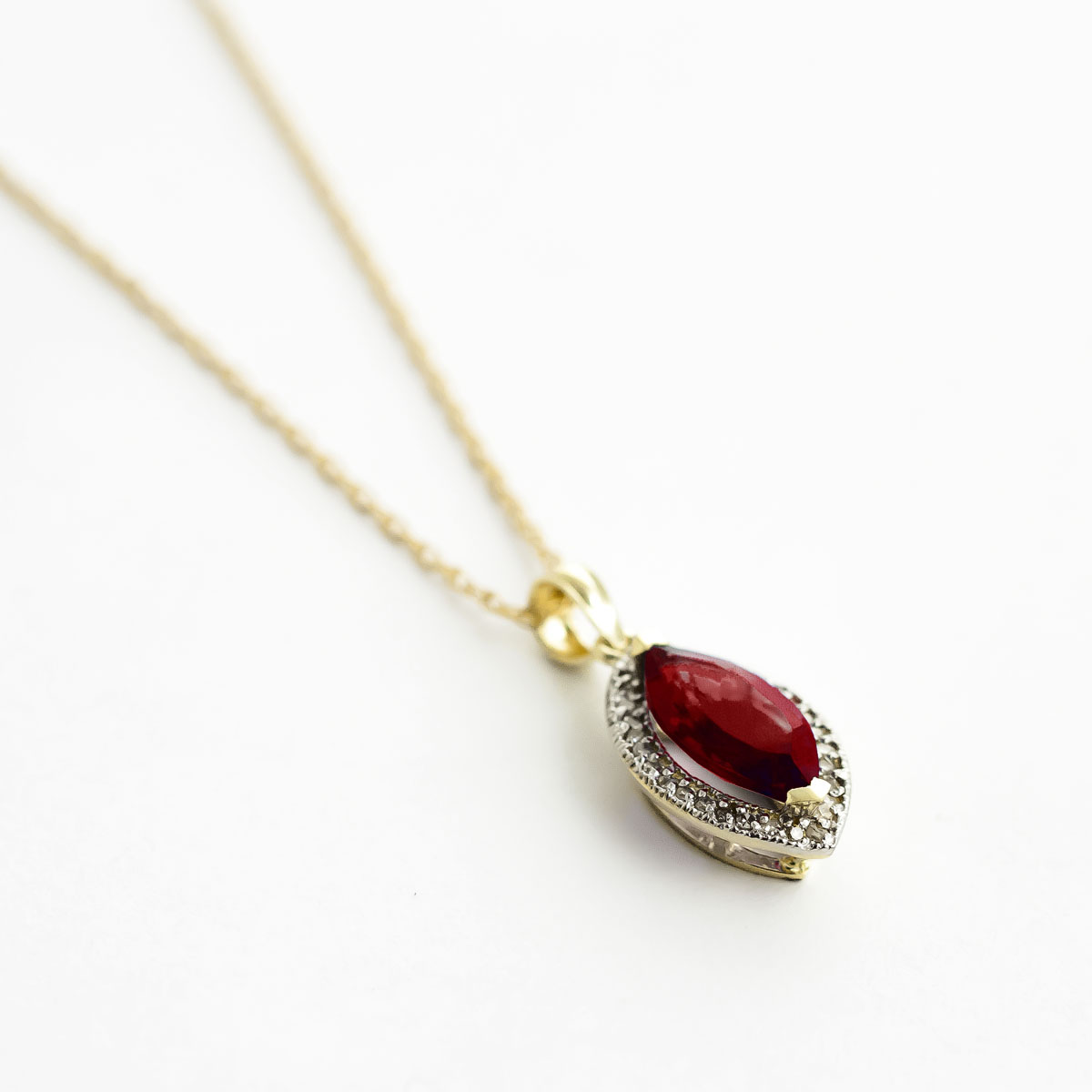 Garnet Halo Pendant Necklace 2.15 ctw in 9ct Gold