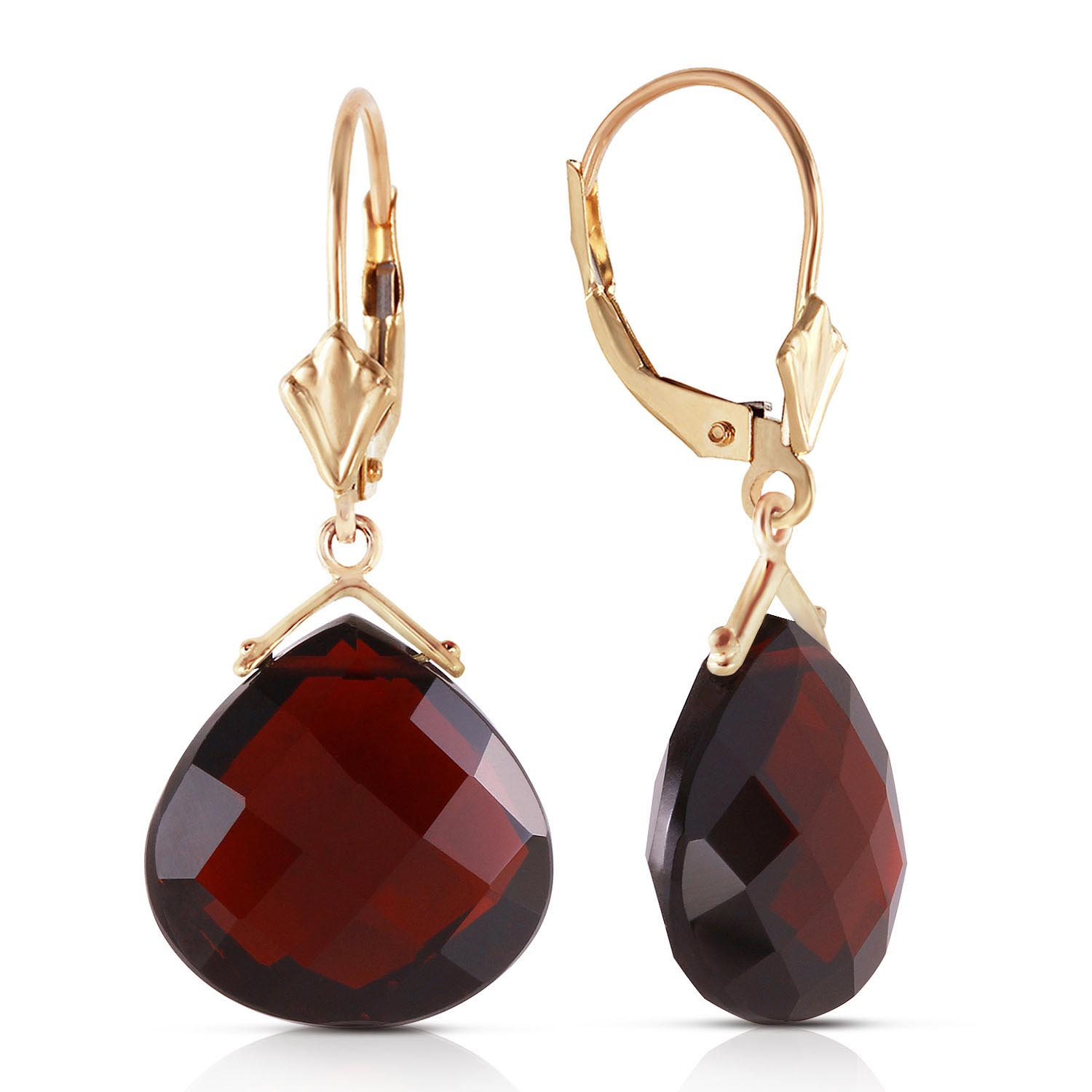 Garnet Star Drop Earrings 17 ctw in 9ct Gold