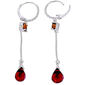 Garnet Twist Drop Earrings 3.5 ctw in 9ct White Gold