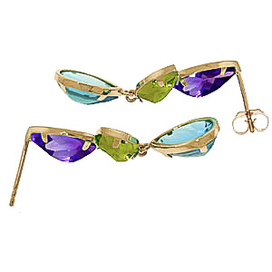 Gemstone Petal Drop Earrings 13.6 ctw in 9ct Gold