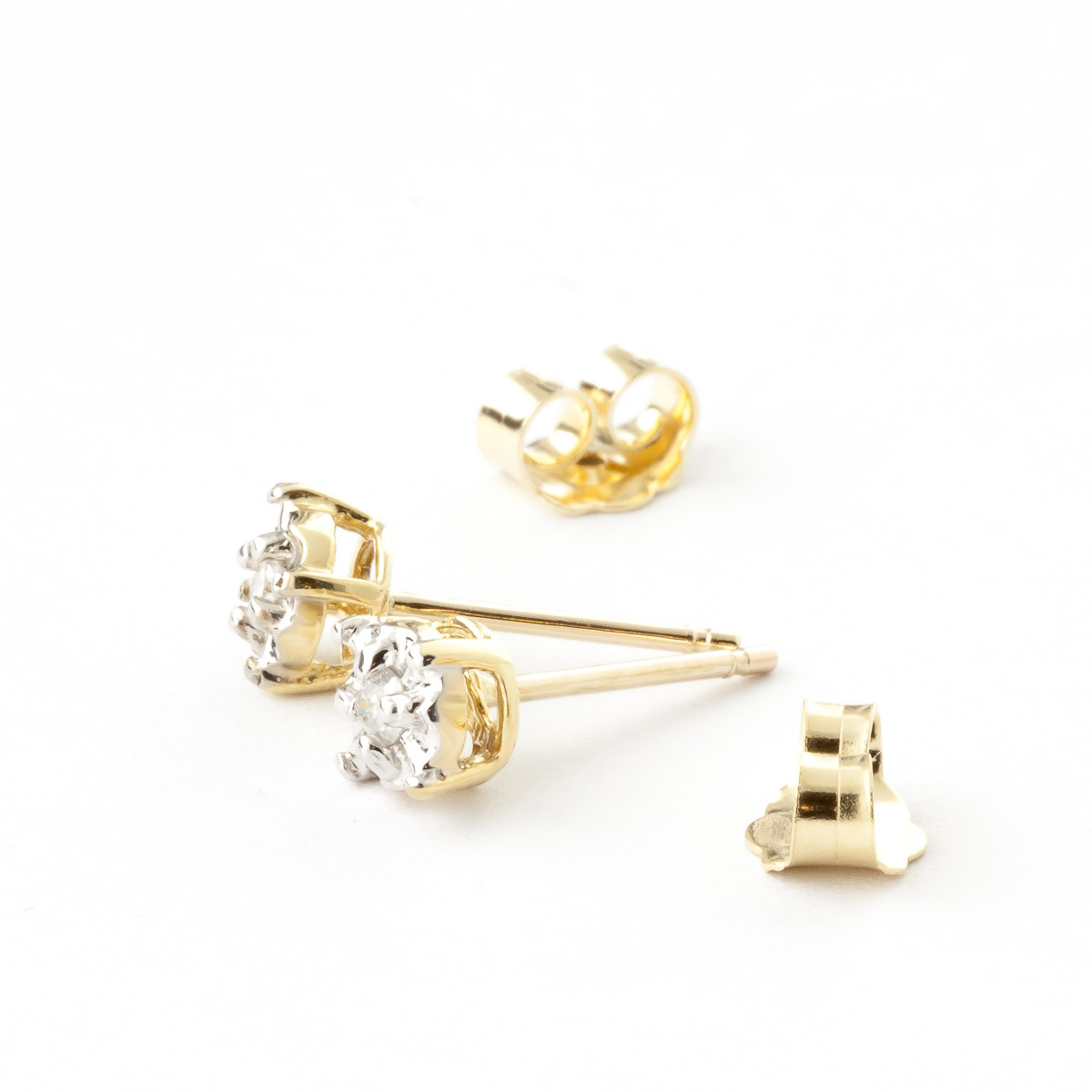 Diamond Stud Illusion Set Earrings in 9ct Gold