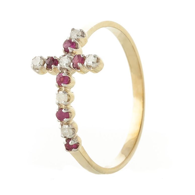 Ruby and Diamond Cross Ring 0.15ctw in 9ct Gold