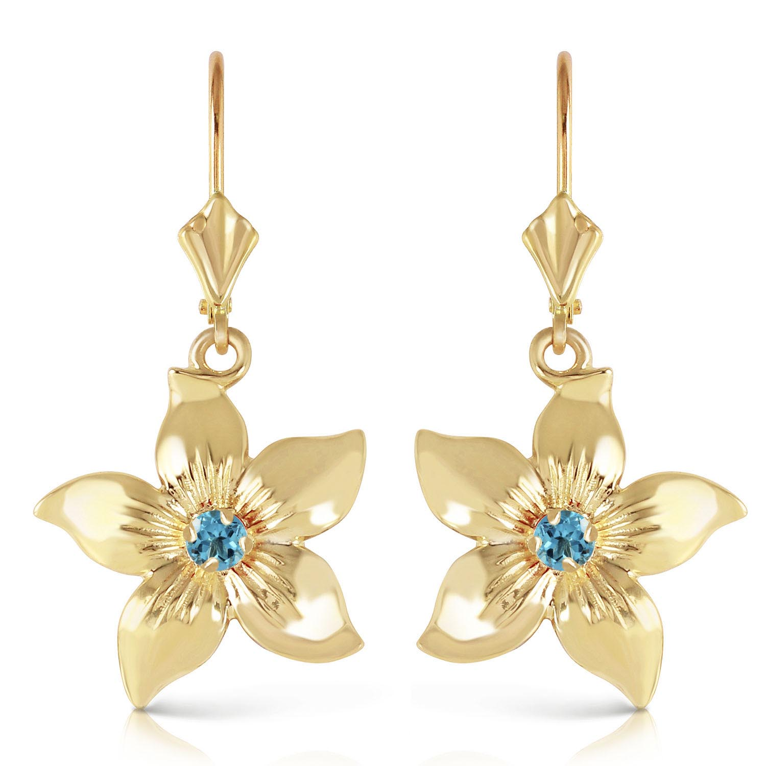 Blue Topaz Flower Star Drop Earrings 0.2ctw in 9ct Gold