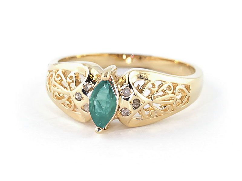 Marquise Cut Emerald Filigree Ring 0.2ct in 9ct Gold