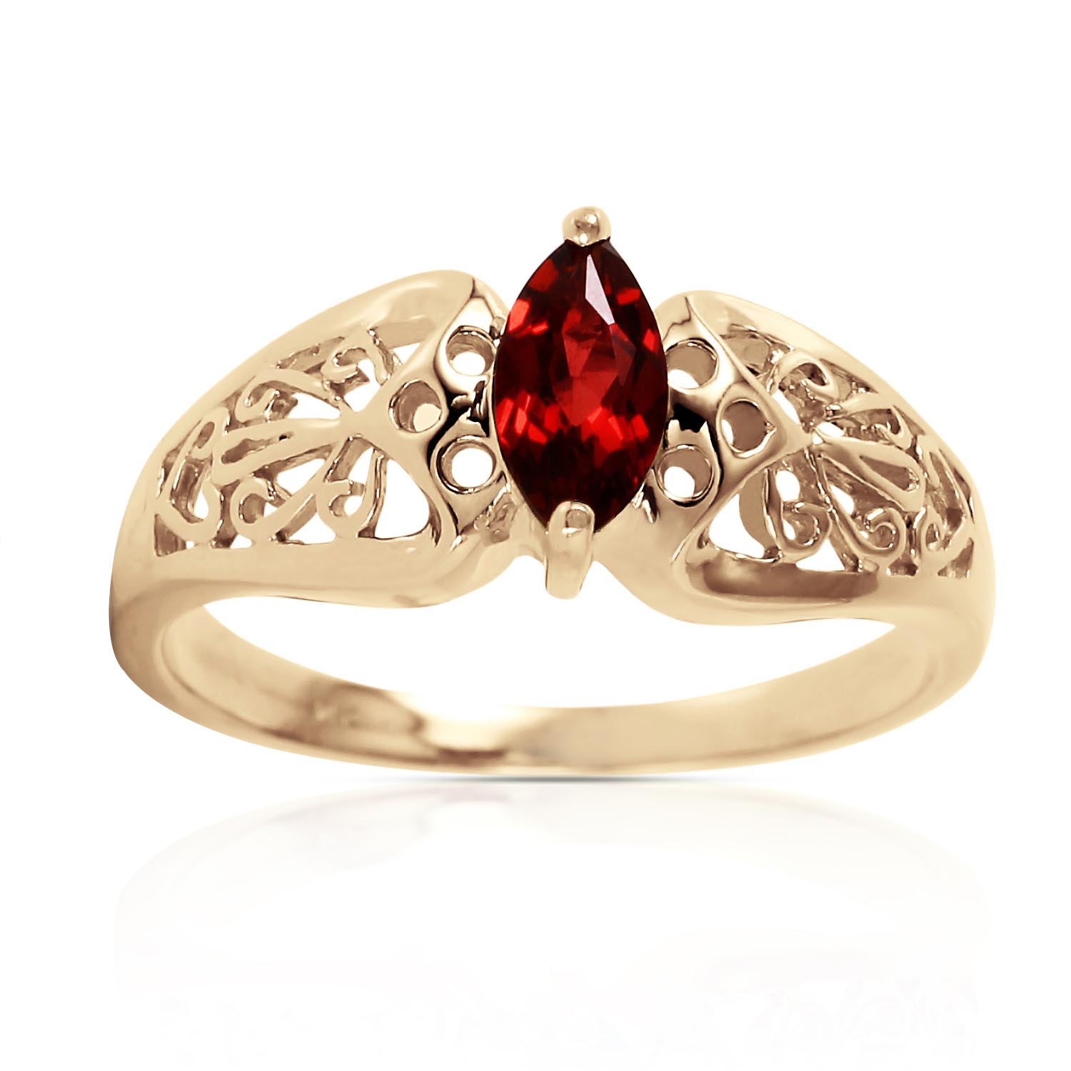 Marquise Cut Garnet Filigree Ring 0.2ct in 9ct Gold