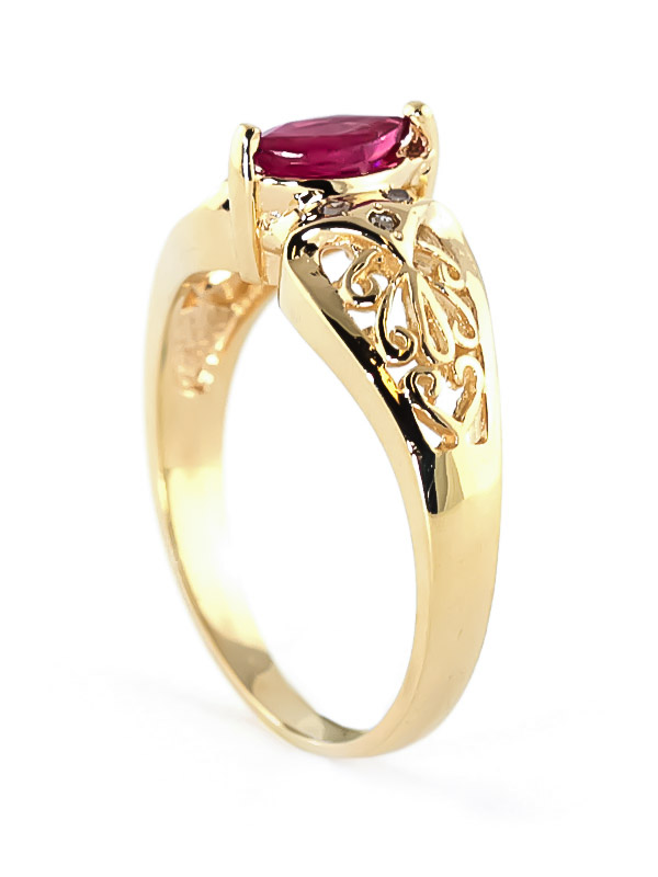 Marquise Cut Ruby Filigree Ring 0.2ct in 9ct Gold