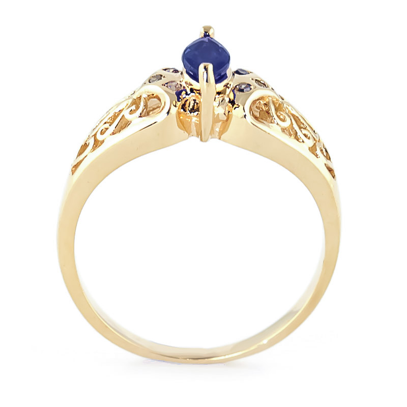 Marquise Cut Sapphire Filigree Ring 0.2ct in 9ct Gold