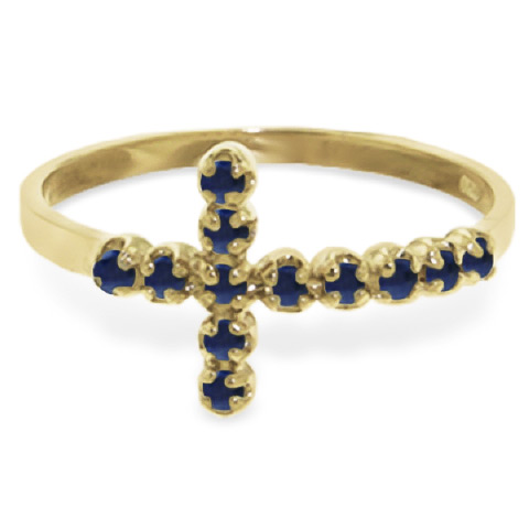 Sapphire Cross Ring 0.3ct in 9ct Gold