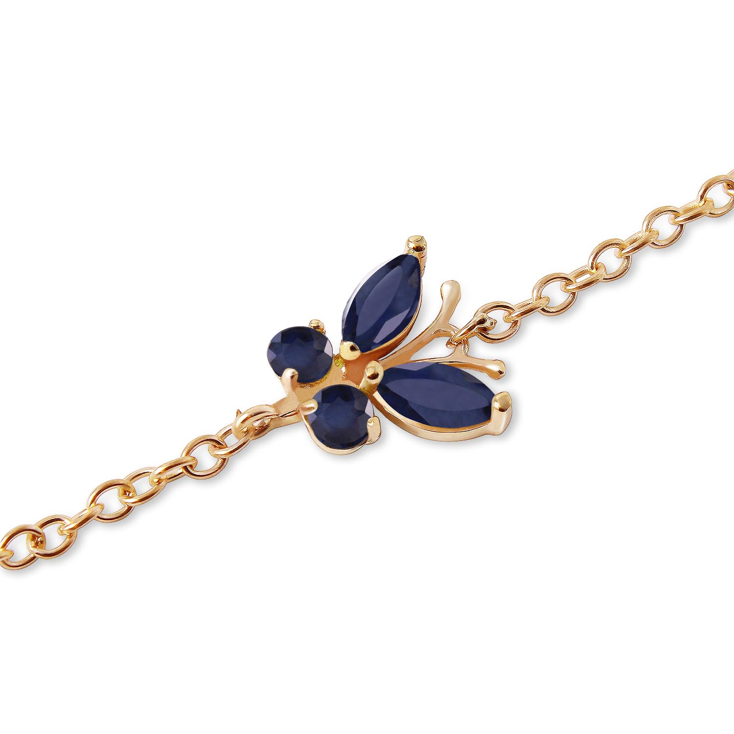 Sapphire Adjustable Butterfly Bracelet 0.6ctw in 9ct Gold
