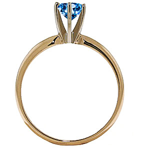 Blue Topaz Crown Solitaire Ring 0.65ct in 9ct Gold