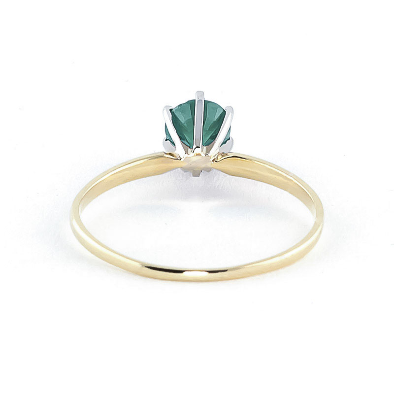 Emerald Crown Solitaire Ring 0.65ct in 9ct Gold
