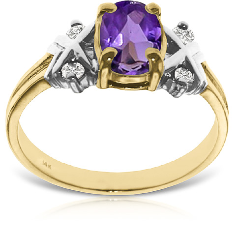 Amethyst and Diamond Ring 0.85ct in 9ct Gold