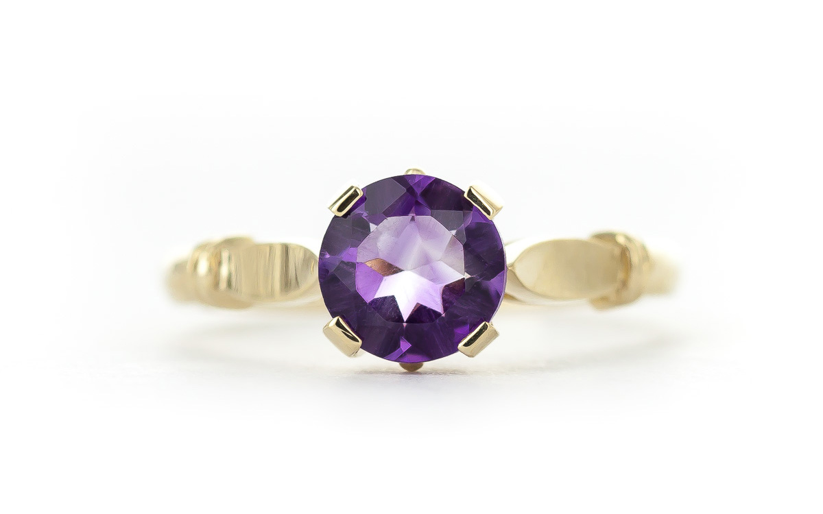 Round Brilliant Cut Amethyst Solitaire Ring 1.15ct in 9ct Gold