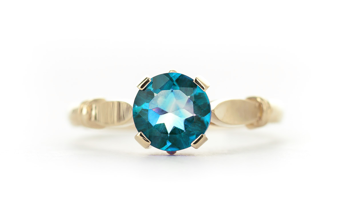 Round Brilliant Cut Blue Topaz Solitaire Ring 1.15ct in 9ct Gold