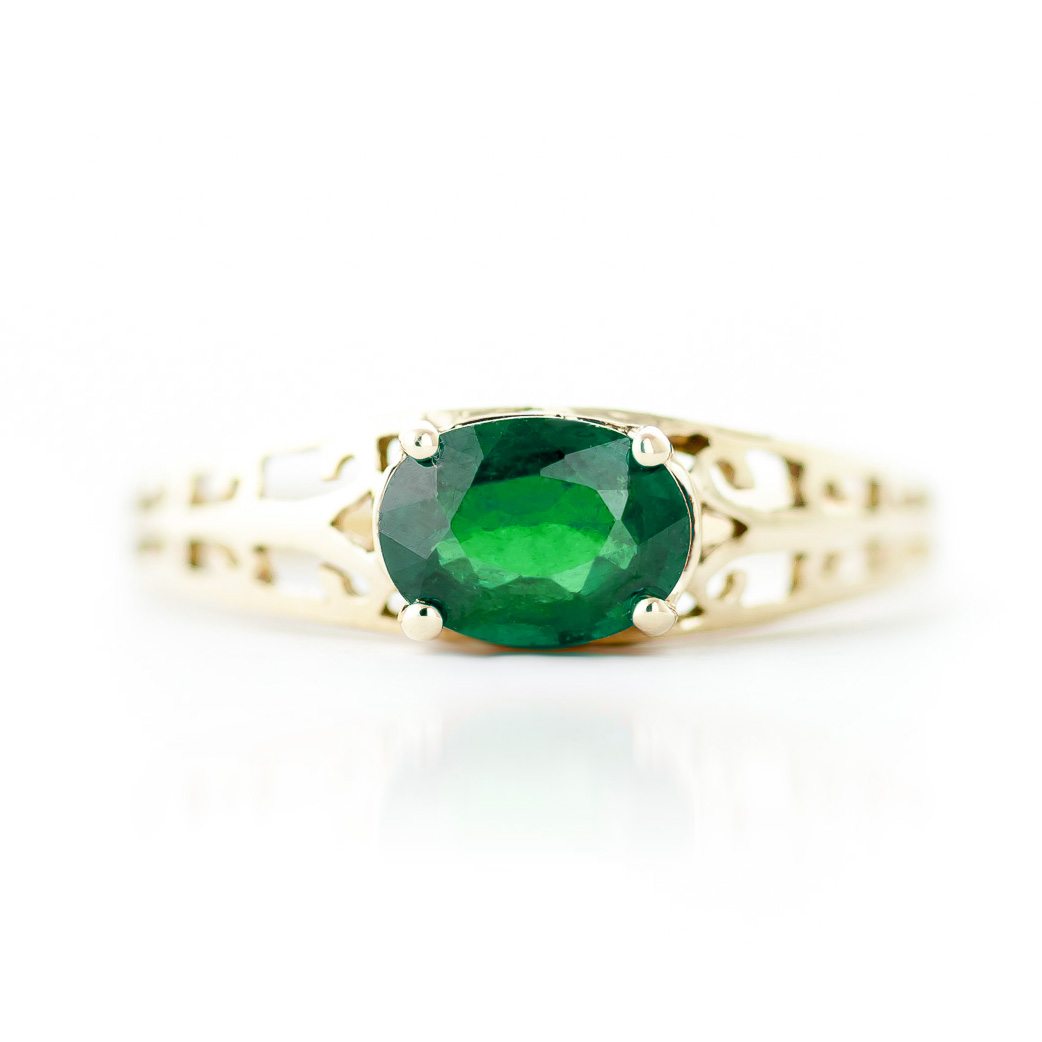Emerald Catalan Filigree Ring 1.15ct in 9ct Gold