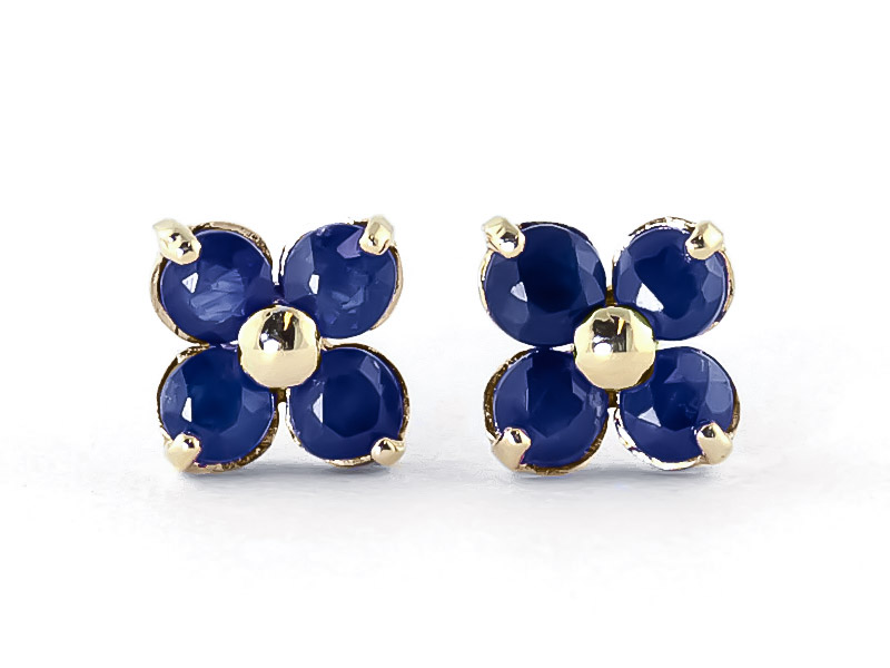 Sapphire Clover Stud Earrings 1.15ctw in 9ct Gold