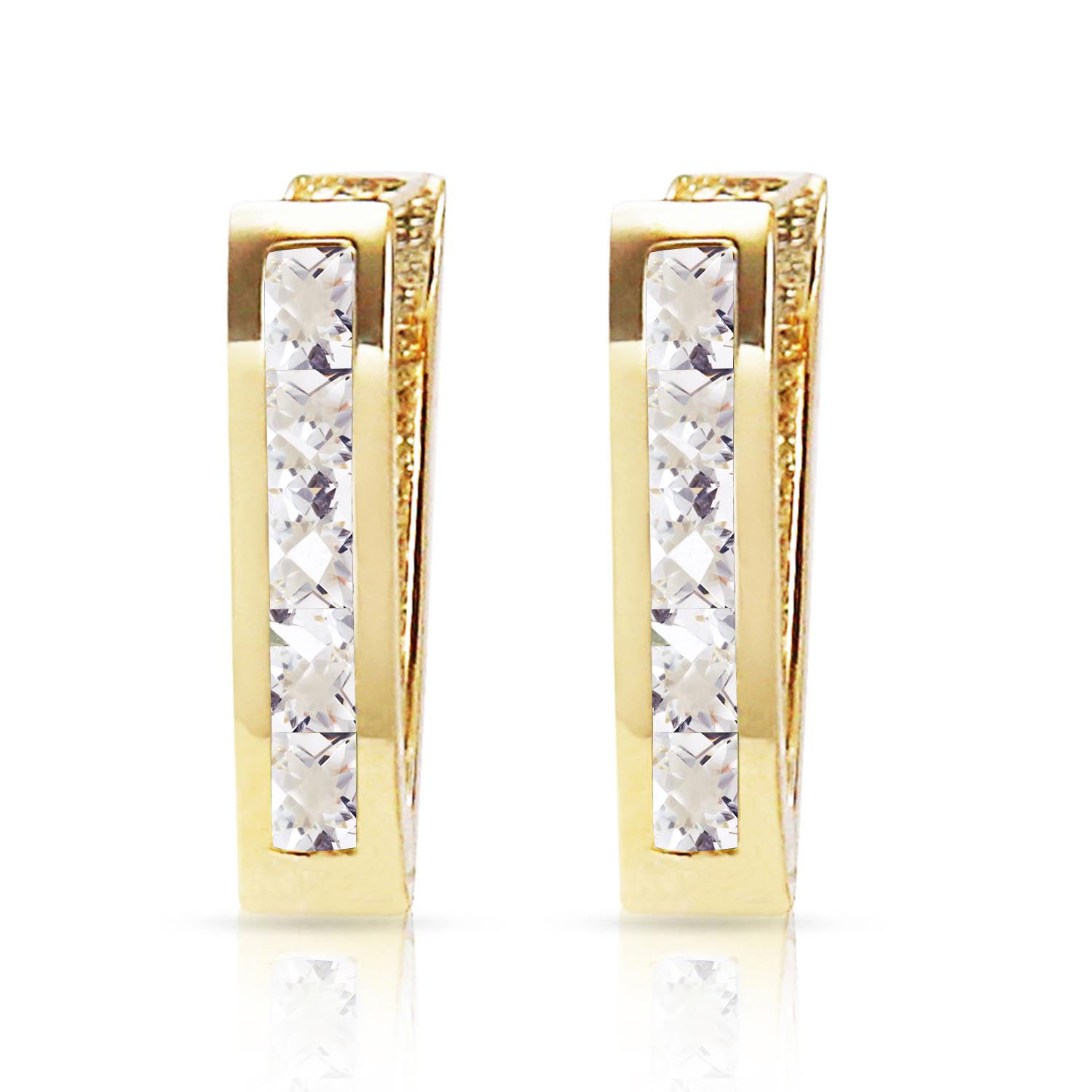 White Topaz Acute Huggie Earrings 1.2ctw in 9ct Gold