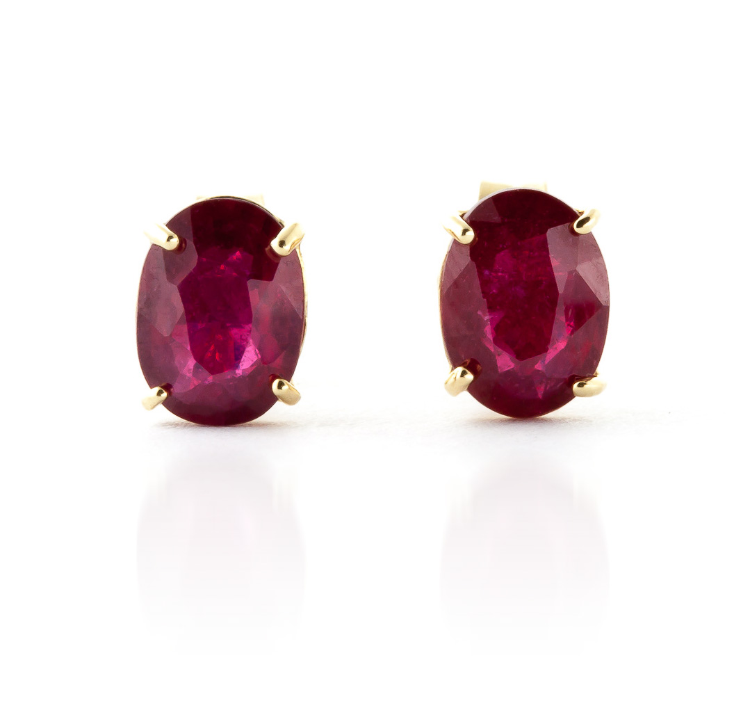 Ruby Stud Earrings 1.8ctw in 9ct Gold