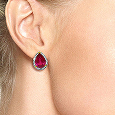 Ruby and Diamond French Clip Halo Earrings 10.7ctw in 9ct Gold