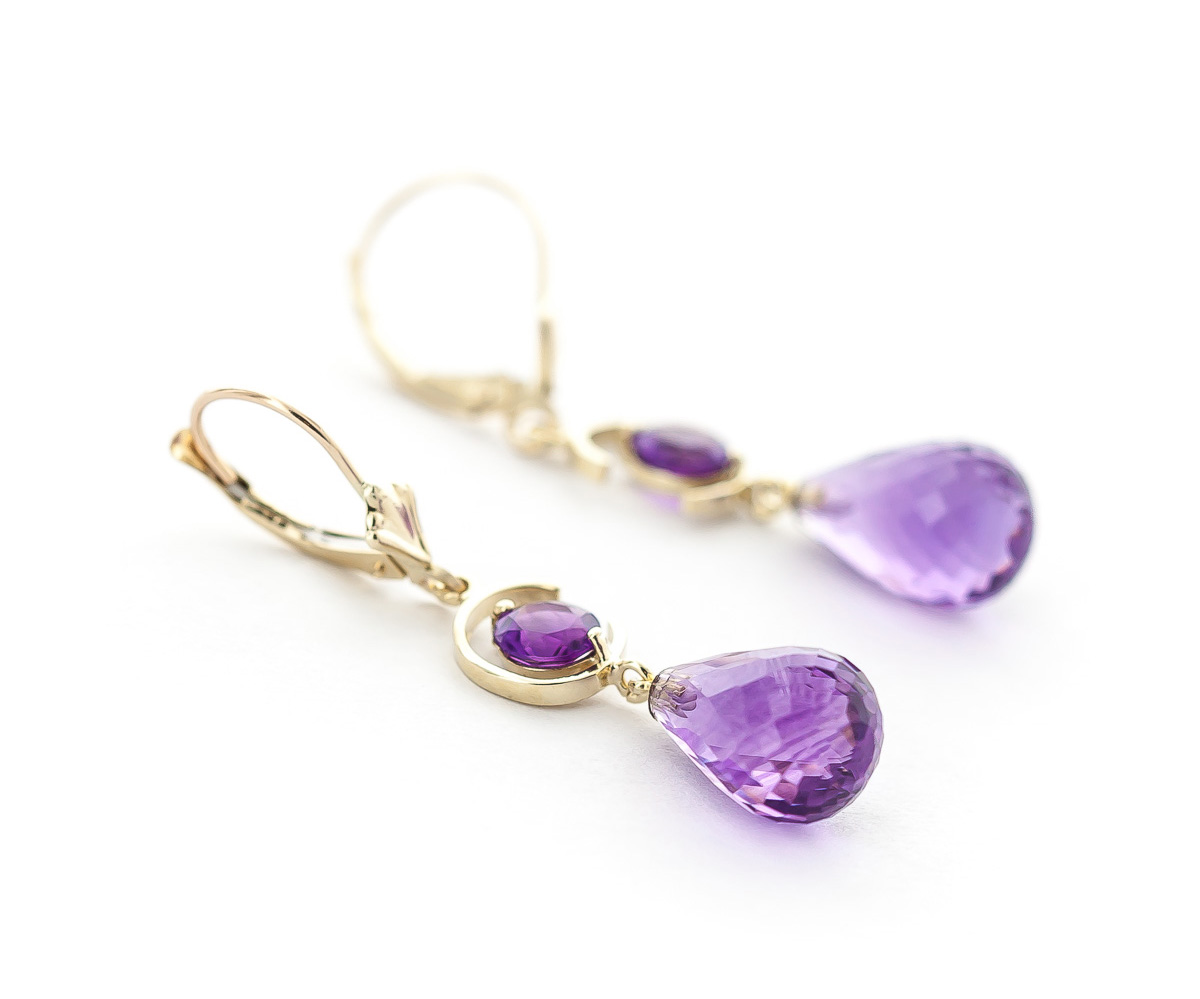 Amethyst Briolette Drop Earrings 11.0ctw in 9ct Gold