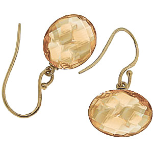 Citrine Chequer Cut Drop Earrings 12.0ctw in 9ct Gold
