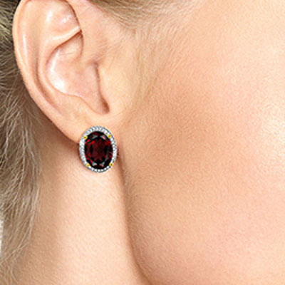 Garnet and Diamond French Clip Halo Earrings 12.1ctw in 9ct Gold