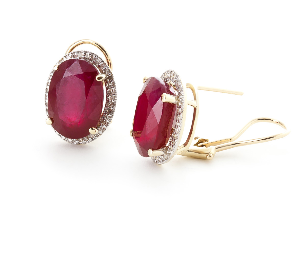 Ruby and Diamond French Clip Halo Earrings 15.5ctw in 9ct Gold