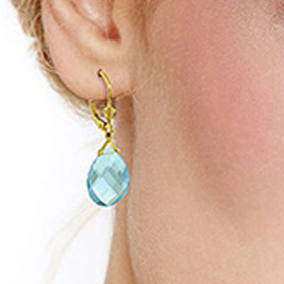 Blue Topaz Star Heart Drop Earrings 17.0ctw in 9ct Gold