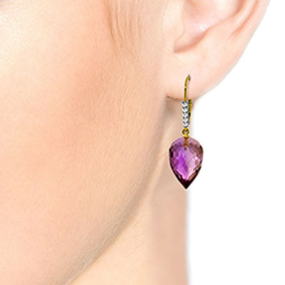 Amethyst and Diamond Drop Earrings 19.0ctw in 9ct Gold