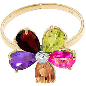 Gemstone and Diamond Five Petal Ring 2.2ctw in 9ct Gold