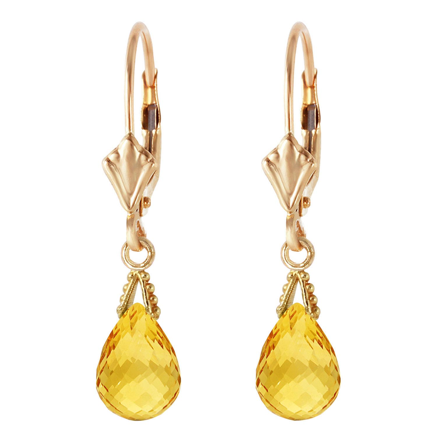 Citrine Droplet Briolette Earrings 2.5ctw in 9ct Gold