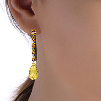 Citrine by the Yard Drop Earrings 23.0ctw in 9ct Gold