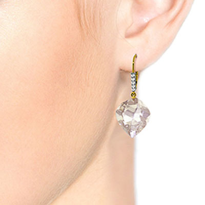 White Topaz and Diamond Drop Earrings 25.6ctw in 9ct Gold