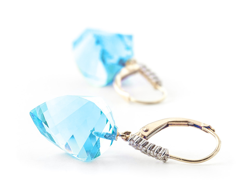 Blue Topaz and Diamond Drop Earrings 27.85ctw in 9ct Gold