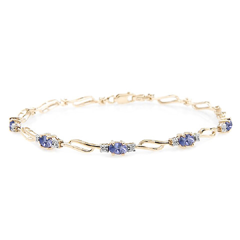 Tanzanite and Diamond Tennis Bracelet 3.0ctw in 9ct Gold
