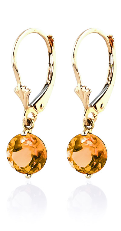 Citrine Drop Earrings 3.1ctw in 9ct Gold