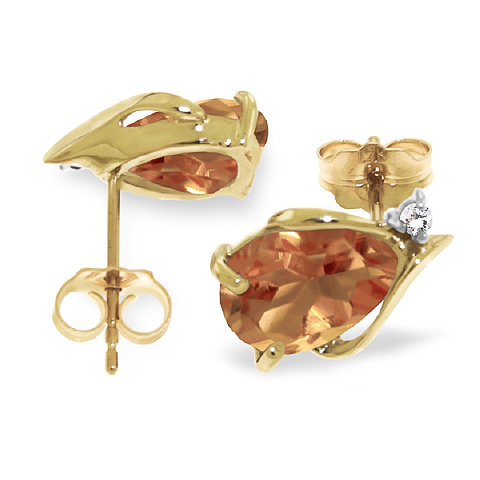Citrine and Diamond Stud Earrings 3.2ctw in 9ct Gold