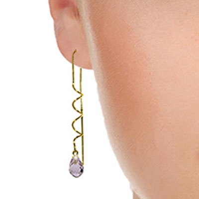 Amethyst Spiral Scintilla Briolette Earrings 3.3ctw in 9ct Gold