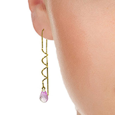 Pink Topaz Spiral Scintilla Briolette Earrings 3.3ctw in 9ct Gold