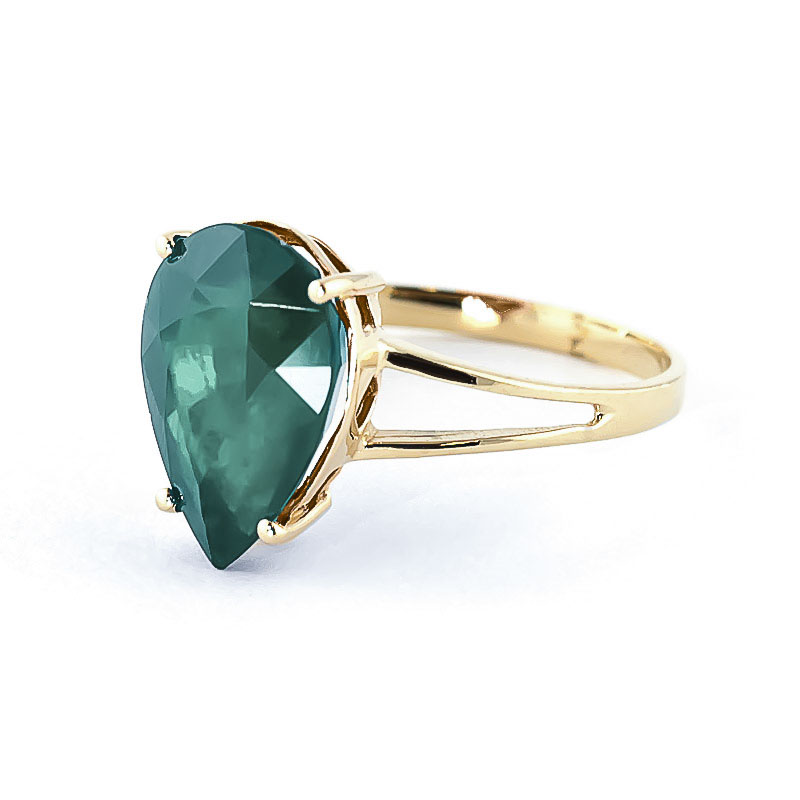 Pear Cut Emerald Ring 3.5ct in 9ct Gold