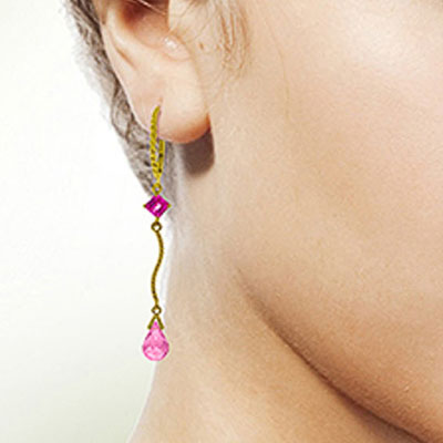 Pink Topaz Twist Drop Earrings 3.5ctw in 9ct Gold