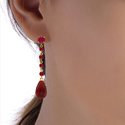 Ruby by the Yard Drop Earrings 31.6ctw in 9ct Gold