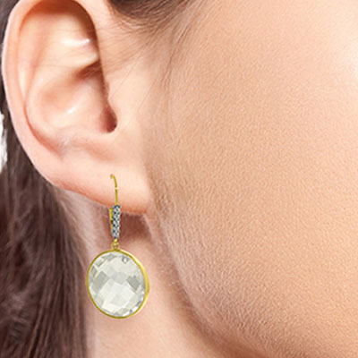 White Topaz and Diamond Drop Earrings 36.0ctw in 9ct Gold