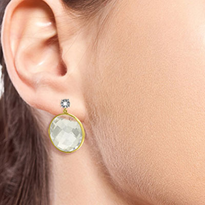 White Topaz and Diamond Stud Earrings 36.0ctw in 9ct Gold