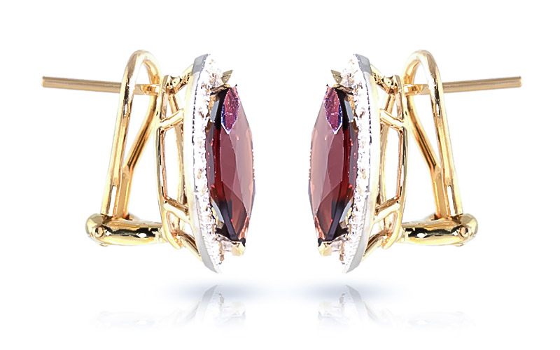 Garnet and Diamond French Clip Halo Earrings 4.0ctw in 9ct Gold