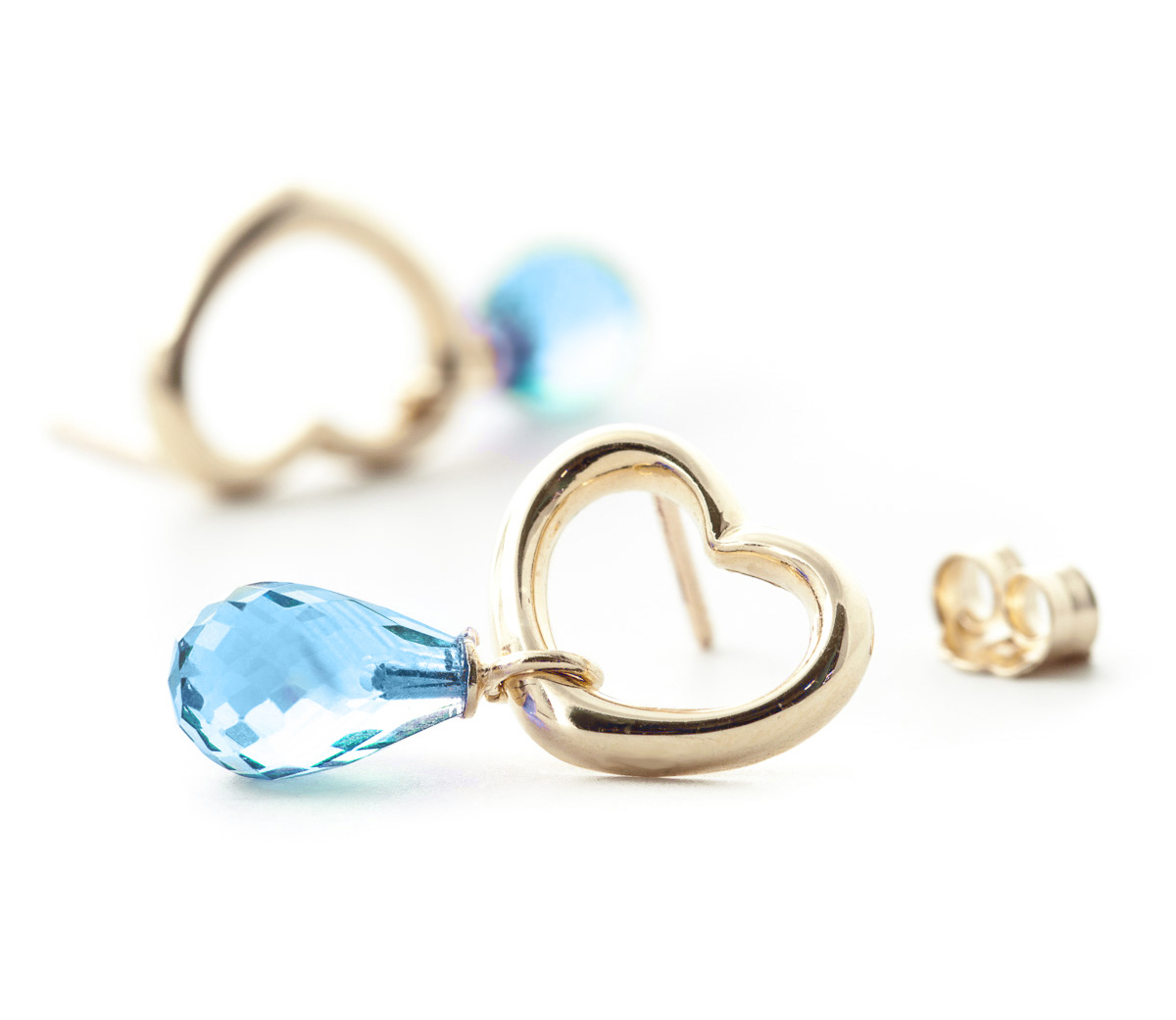 Blue Topaz Stud Earrings 4.5ctw in 9ct Gold